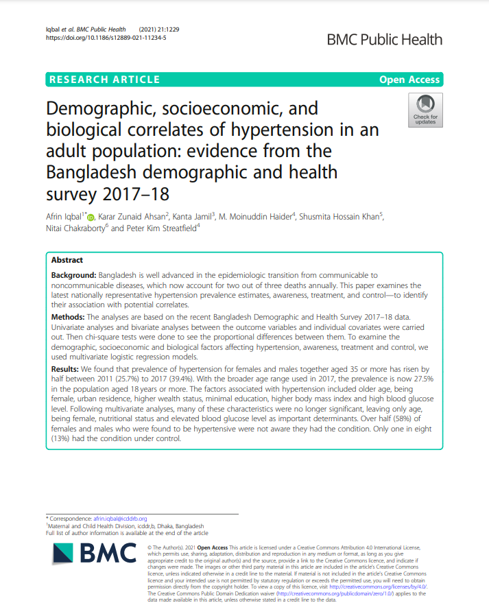 Demographic, socioeconomic, and biological correlates of hypertension in an adult population: evidence from the Bangladesh demographic and health survey 2017–18